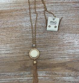 Jewelry Gold Pendant Necklace w/ Earrings