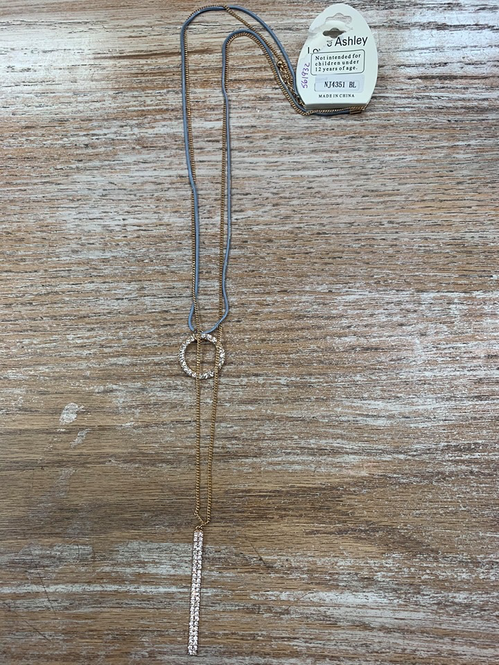Jewelry Long Blue/Gold Chain Necklace