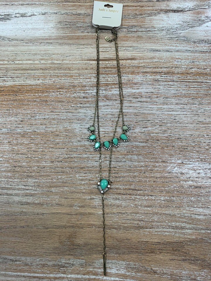 Jewelry Gold Necklace w/ Green Stones