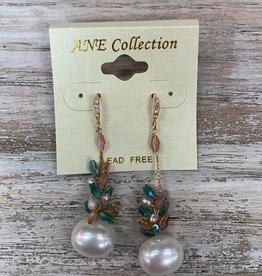 Jewelry Gold Dangle Earrings w/ Pearl