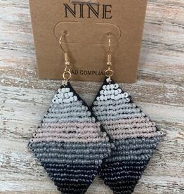 Jewelry Black Felt Earrings w/ Beads