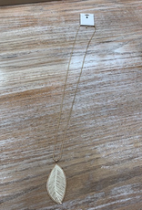 Jewelry Gold Ivory Long Leaf Necklace