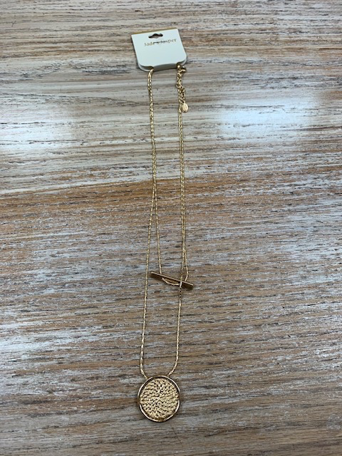 Jewelry Double Chain Bar Coin Necklace