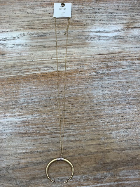 Jewelry Long Gold Half Circle Necklace