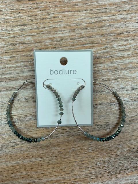 Jewelry Silver Hoops w/ Green Bead Earrings