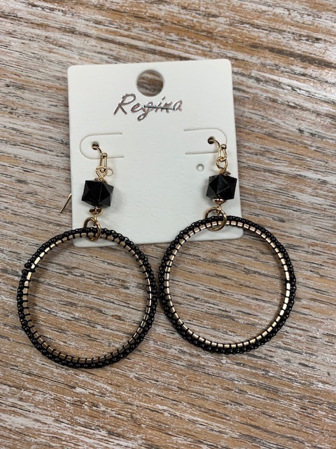 Jewelry Gold Black Beaded Circle Earrings