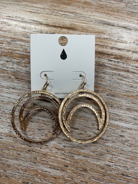 Jewelry Gold Circle Moon Earrings