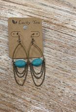 Jewelry Gold Dangle Earrings w/ Turq