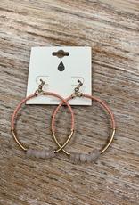 Jewelry Pink Beaded Circle Earrings