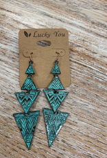Jewelry Teal Patina Triangle Earrings
