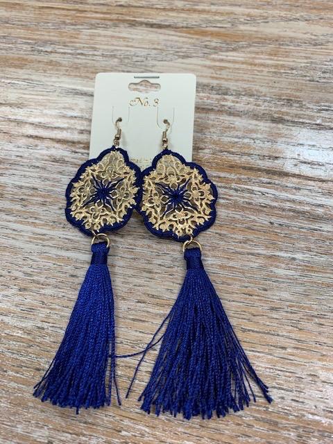 Jewelry Gold Design w/ Royal Tassels Earrings