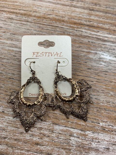 Jewelry Burnt Gold Fun Design Earrings