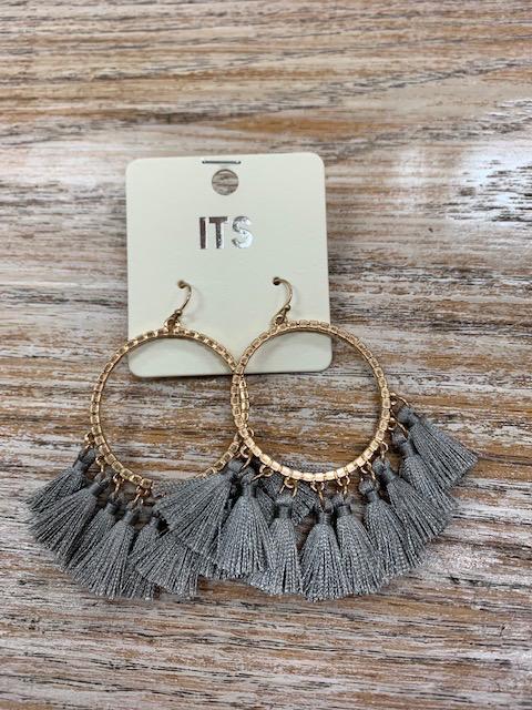 Jewelry Gold Circle Gray Tassel Earrings