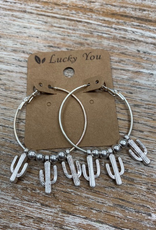Jewelry SIlver Hoop Cactus Earrings