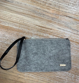 Bag Gray Felt Zip Clutch
