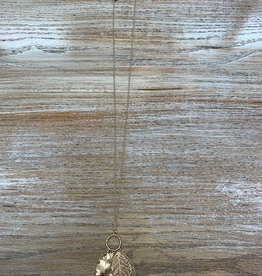 Jewelry Long All Gold Leaf Necklace