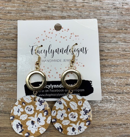 Jewelry TLD Mustard Navy Floral Metal Earrings
