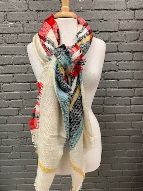 Scarf Cream, Red Blk Blanket Scarf