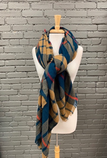 Scarf Camel, Navy, Red Blanket Scarf