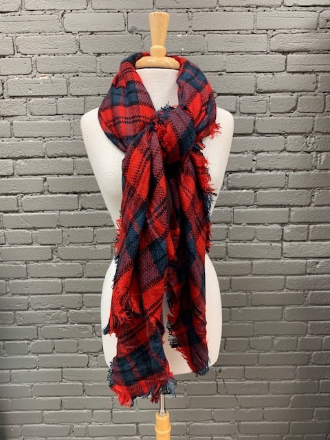 Scarf Red, Navy Blanket Scarf