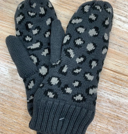 Gloves Gray Leopard Knit Mittens