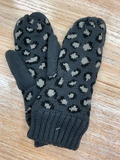 Gloves Gray Leopard Knit Mittens