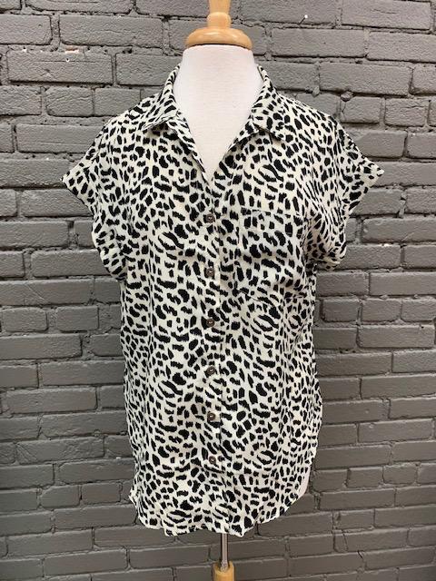 Shirt Jenny Button Leopard Top