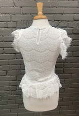 Blouse Patty Lace Shirt w/ Ruffle Sleeves