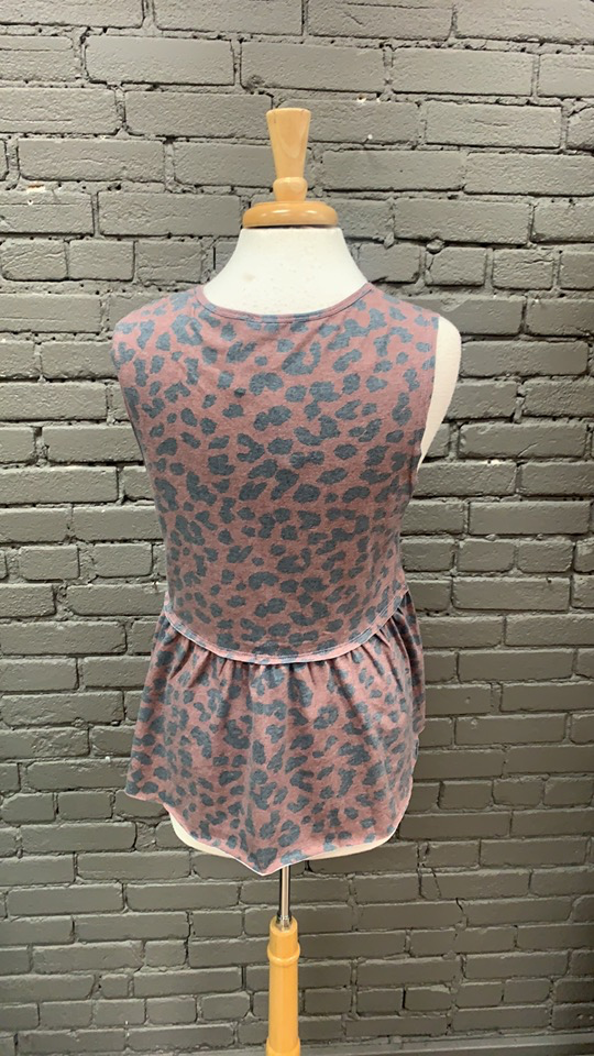 Tank Betty Leopard Tank w/ Ruffle Bottom