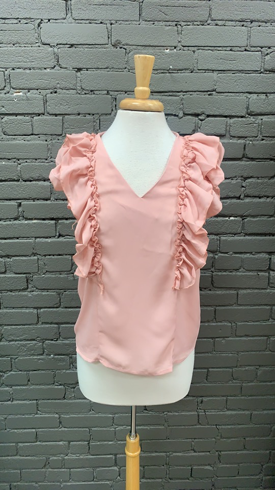 Blouse Kelly Top  w/ Front Ruffle