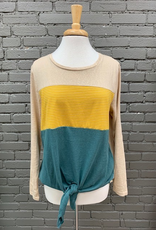 Long Sleeve Ashley LS Colorblock Tie Top
