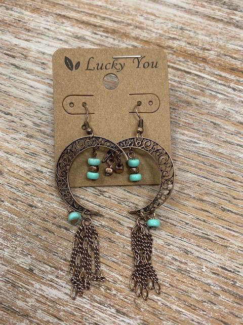 Jewelry Bronze Half Moon w/ Turq Earrings