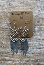Jewelry Silver Triangles Gray Tassel Earrings