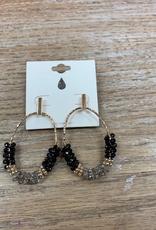 Jewelry Black/Gray Beaded Hoop Earrings