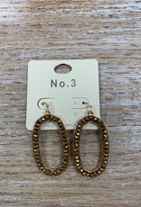 Jewelry Bronze Beaded Oval Earrings