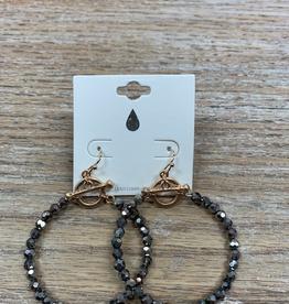 Jewelry Hematite Beaded Circle Earrings