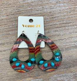 Jewelry Leather Aztec Turq Stone Earrings