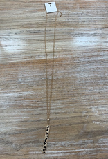 Jewelry Long Gold Leopard Bar Necklace