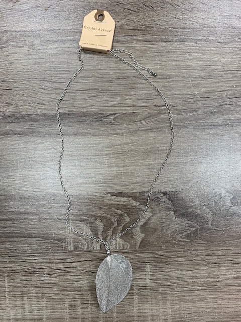 Jewelry Long Silver Leaf Necklace