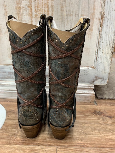 Boot Teal/Brown Braiding Fringe Boots 7.5