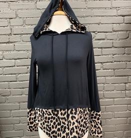 Long Sleeve Chelsea Black/Leopard LS Hoodie