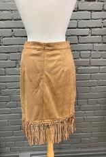 Skirt Lib Suede Cut Out Fringe Skirt