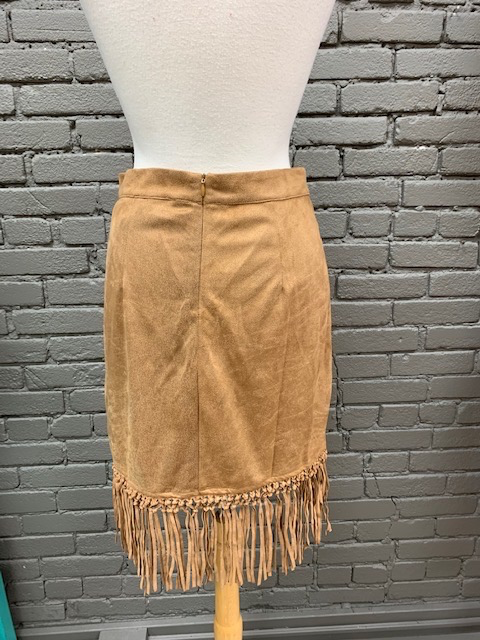 Skirt Lib Suede Cut Out Fringe Skirt