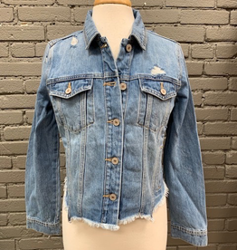 Jacket Zoey Distressed Raw Hem Denim Jacket