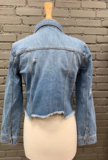 Jacket Zoey Distressed Raw Hem Denim Jacket