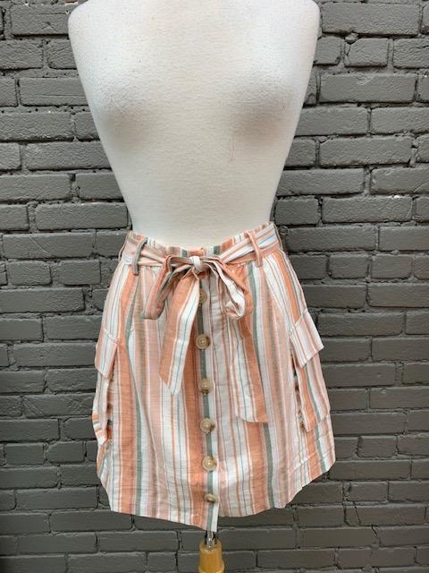 Skirt Penny Multi Stripe Button Skirt