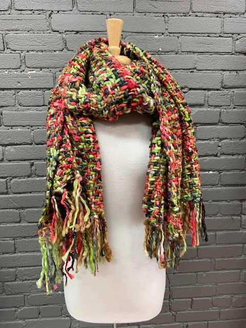 Scarf Red, Green, Brown Long Chunky Scarf