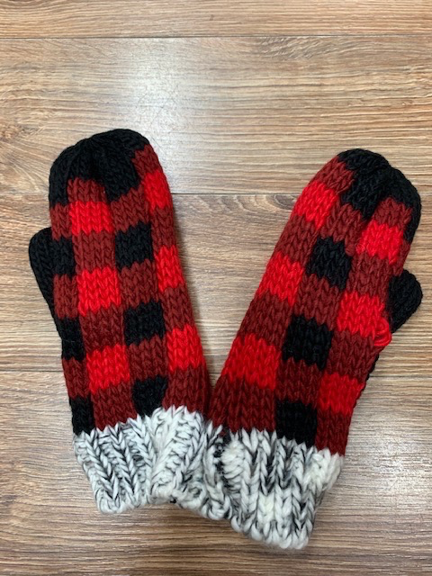 Mittens Red Plaid w/ Gray Mittens