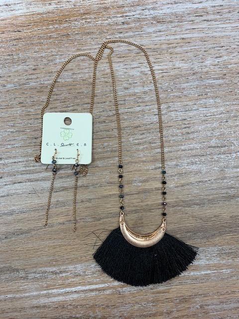 Jewelry Long Gold Necklace Black Tassel Half Moon