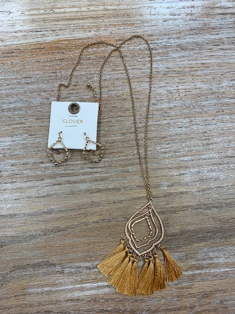 Jewelry Long Gold Design Mustard Tassle Necklace